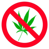 Symbol of forbidden canabis leaf