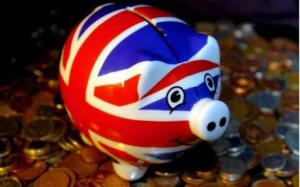 UK officially in recession...A Union Jack piggy bank on the day the UK officially went into recession.
